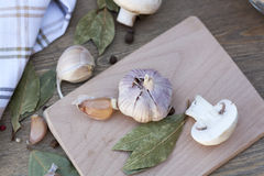 Garlic, mushrooms and spices. Fresh food stock photo
