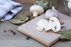 Garlic, mushrooms and spices. Fresh food royalty free stock images