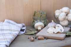 Garlic, mushrooms and spices. Fresh food stock photography