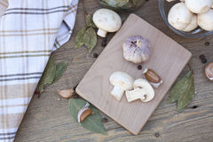 Garlic, mushrooms and spices. Fresh food stock photos