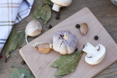 Garlic, mushrooms and spices. Fresh food stock image