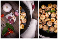 Garlic mushrooms triptych Royalty Free Stock Photo