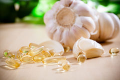 Garlic oil. Capsules,healthcare and medical stock image