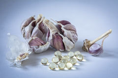 Garlic oil capsules Stock Images