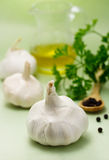 Garlic with olive oil Stock Image