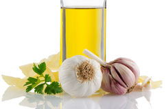 Garlic and olive oil Royalty Free Stock Photos