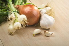 Garlic , onion Stock Photos