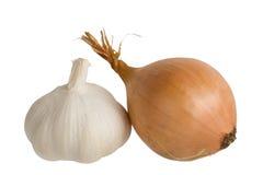 Garlic, onion. Fresh garlic and onion isolated on white background Royalty Free Stock Photo