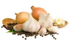 Garlic, Onion And Pepper Isolated On White Stock Photos