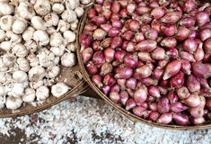 Garlic and onion background Royalty Free Stock Photo
