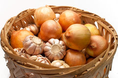 Garlic and onion bulbs Royalty Free Stock Photo