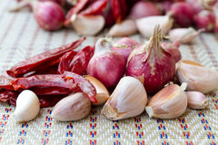 Garlic and onion and chilly Royalty Free Stock Photos