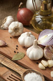 Garlic, onion, coriander, sesame seeds, black pepper, bay leaf, sea salt, olive oil Stock Images