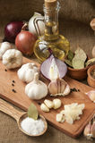 Garlic, onion, coriander, sesame seeds, black pepper, bay leaf, sea salt, olive oil. Spices and ingredients for hot savory dishes. Garlic, onion, coriander royalty free stock photography