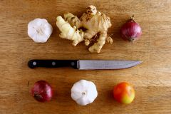 Garlic, onion, ginger, tomato and knife on a chopping board Stock Images