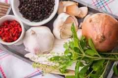 Garlic, Onion, Goji berry, Peppers, Dioscorea opposita and Sweet Stock Photography
