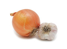 Garlic and onion, isolated Stock Image