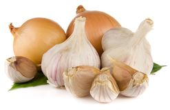 Garlic and onion isolated on white Royalty Free Stock Photo