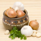 Garlic, onion and parsley Royalty Free Stock Photo