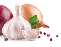 Garlic and onion. With peppercorn and parsley isolated on white background royalty free stock images