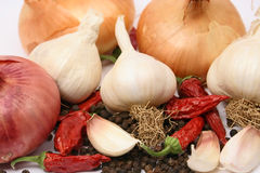 Garlic, onion and peppers Royalty Free Stock Photos