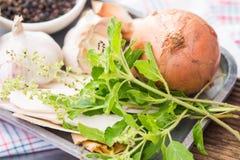 Garlic, Onion, Peppers, Dioscorea opposita and Sweet basil Stock Photo