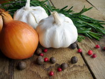 Garlic, onion and rosemary Royalty Free Stock Images