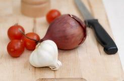 Garlic onion and tomato Royalty Free Stock Photography