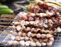 Garlic and Onions. Bar-B-Q on skewers Stock Photo