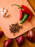 Garlic, onions and peppers Royalty Free Stock Photo