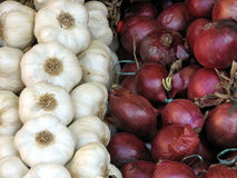 Garlic and onions for sale Royalty Free Stock Image