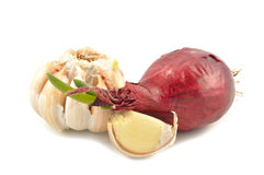 Garlic and onions on a white background Stock Photo
