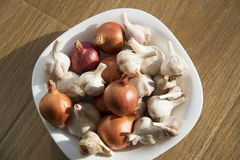 Garlic and onions in a white plate on a wooden background. Stock Photos