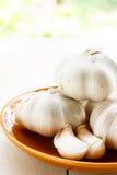 Garlic. Organic Garlic in brown plate Royalty Free Stock Images