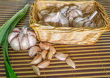 Garlic and Pandan Leaves Royalty Free Stock Image