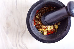 Garlic, paprika coriander seeds and other spices Royalty Free Stock Photography