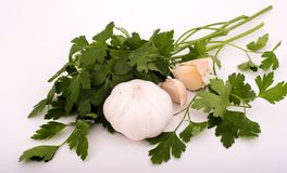 Garlic and Parsley. For cooking royalty free stock image