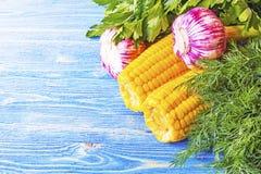 Garlic Parsley dill corn Royalty Free Stock Image