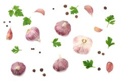 Garlic and parsley isolated on white background. healthy food. top view royalty free stock images