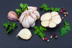 Garlic with parsley and a mix of peppers. Studio Photo Royalty Free Stock Images