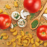 Garlic Parsley Mushroom Tomato Pasta Recipes Stock Images