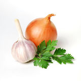 Garlic, parsley and onion Royalty Free Stock Photos