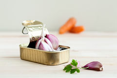 Garlic and parsley in tin can with carrots Royalty Free Stock Images