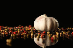 Garlic and pepper Stock Photography