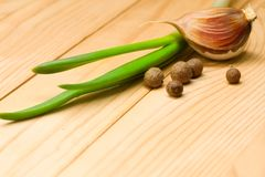 Garlic, pepper and onion Royalty Free Stock Images