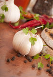Garlic and pepper with other spices Stock Photos