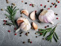 Garlic, pepper and rosemary Royalty Free Stock Images