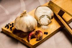 Garlic, pepper and salt Stock Photography