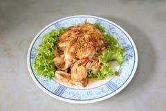 Garlic Pepper Shrimp in dish. Stock Photo