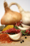 Garlic, peppers and onion royalty free stock photography